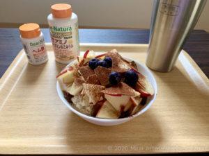 プロテインオートミールティラミスで朝食