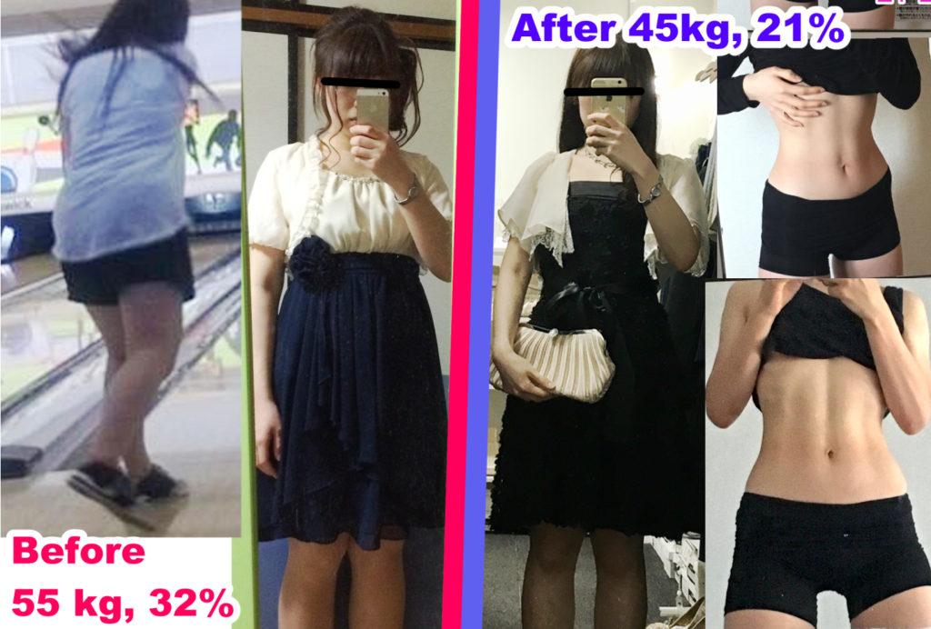 10キロ痩せた身体のビフォーアフター