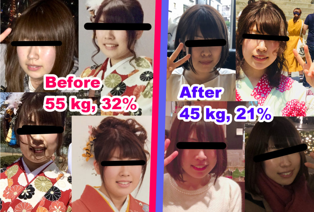 10キロ痩せた顔のビフォーアフター
