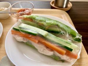 野菜と皮なしの鶏胸肉を包んだ生春巻き
