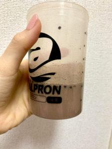 アルプロンALPRONチョコチップ入りチョコレート風味溶かした様子