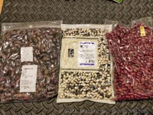 ネットで買った花豆と虎豆と金時豆