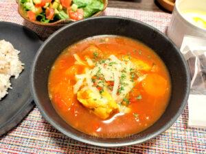 電気圧力鍋クッキングプロで作ったささみ野菜コンソメスープをカレーアレンジ