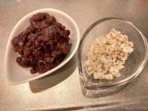 茹でもち麦とラカント小豆